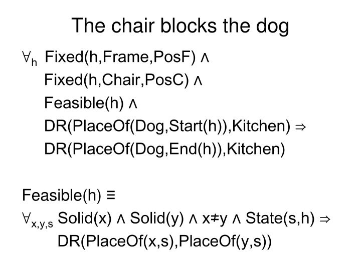 The chair blocks the dog