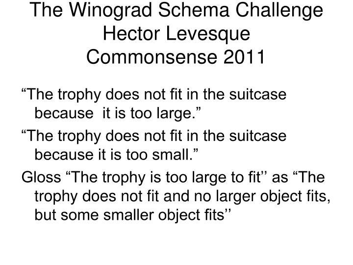 The Winograd Schema Challenge