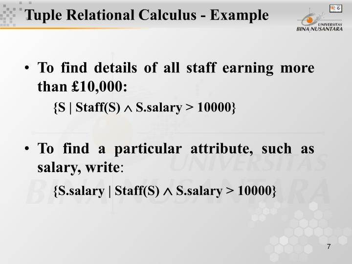 Tuple Relational Calculus