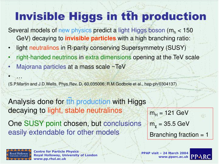 Invisible Higgs in tth