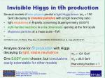 invisible higgs in tth production