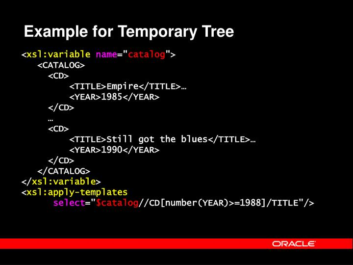 Example for Temporary Tree