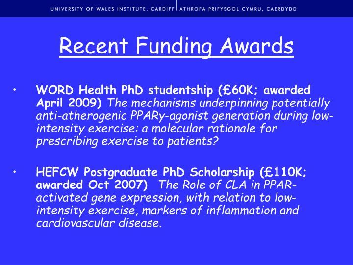 Recent Funding Awards
