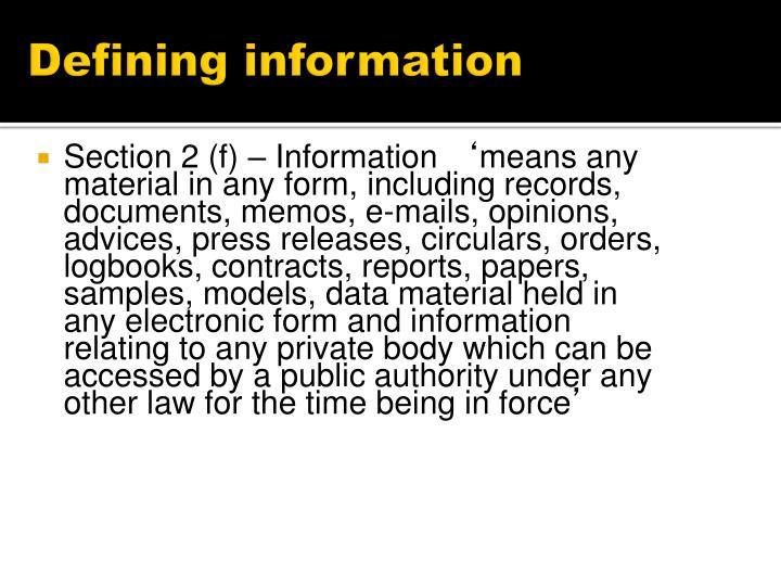 Defining information