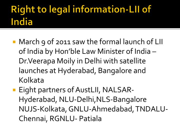 Right to legal information-LII of India