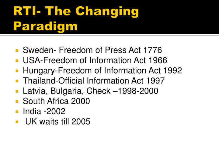 RTI- The Changing Paradigm