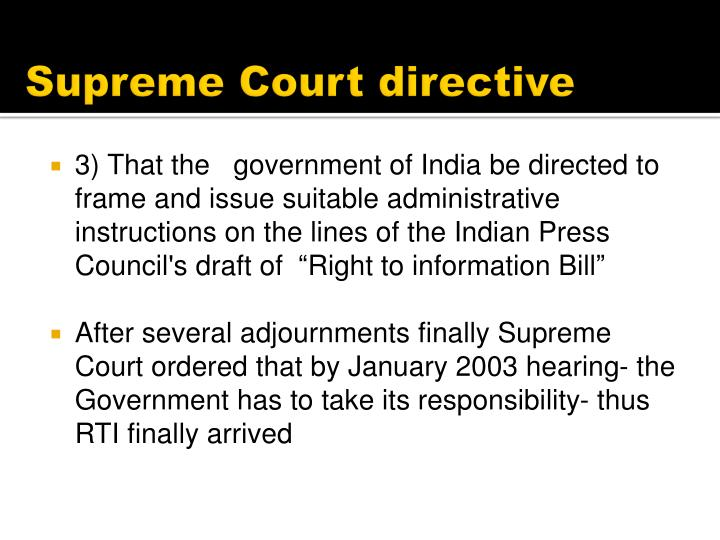 Supreme Court directive