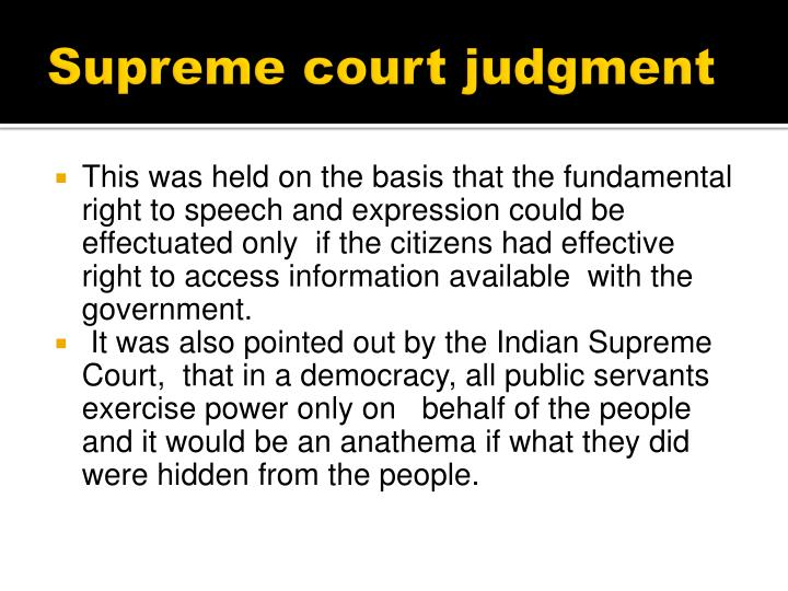 Supreme court judgment