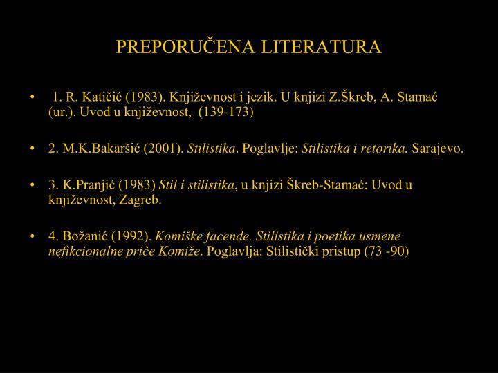 PREPORUČENA LITERATURA