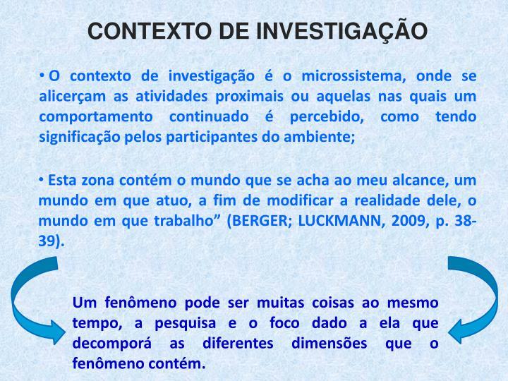 Contexto de Investigao