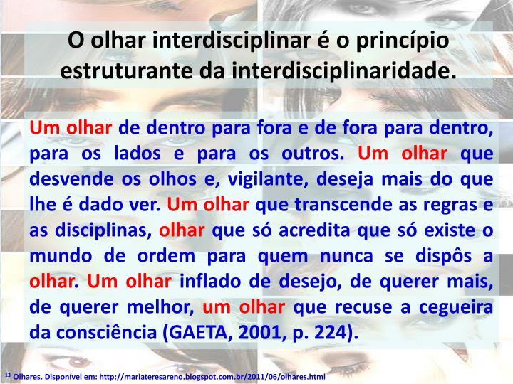 O olhar interdisciplinar  o princpio estruturante da interdisciplinaridade.
