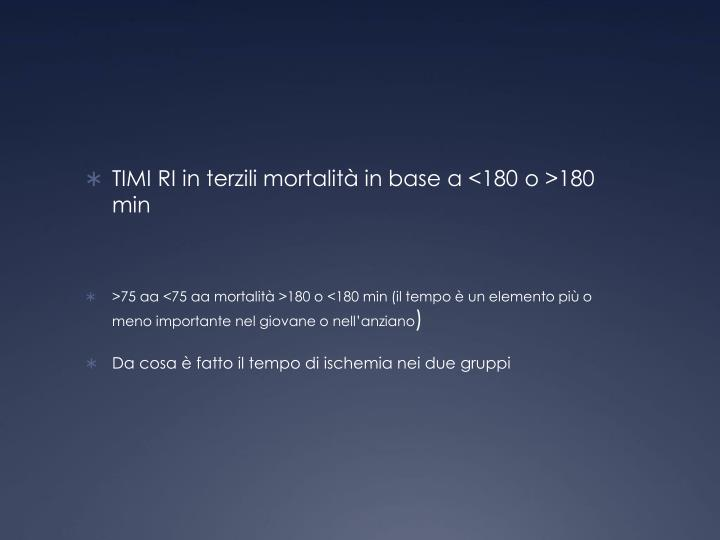 TIMI RI in terzili mortalità in base a <180 o >180 min