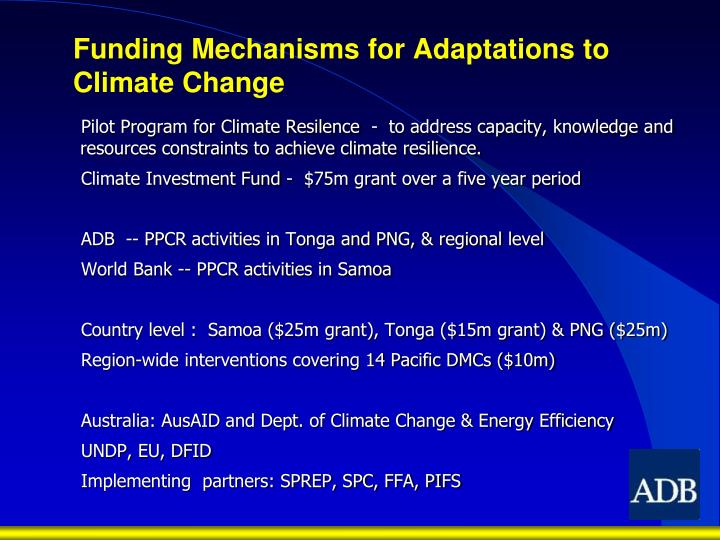 Funding Mechanisms for Adaptations to Climate Change