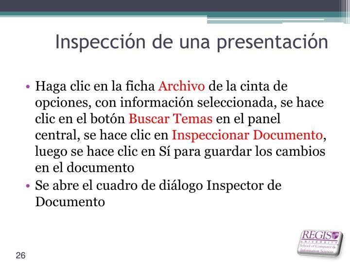 Inspección de una presentación