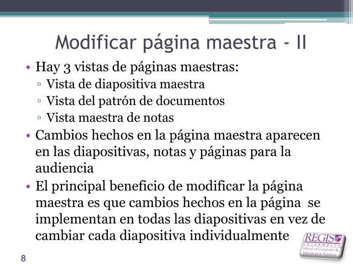 Modificar página maestra - II