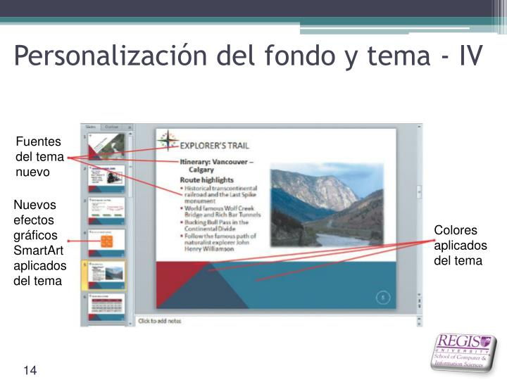 Personalización del fondo y tema - IV