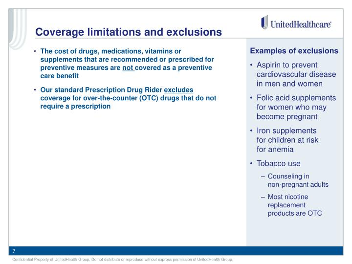 Coverage limitations and exclusions