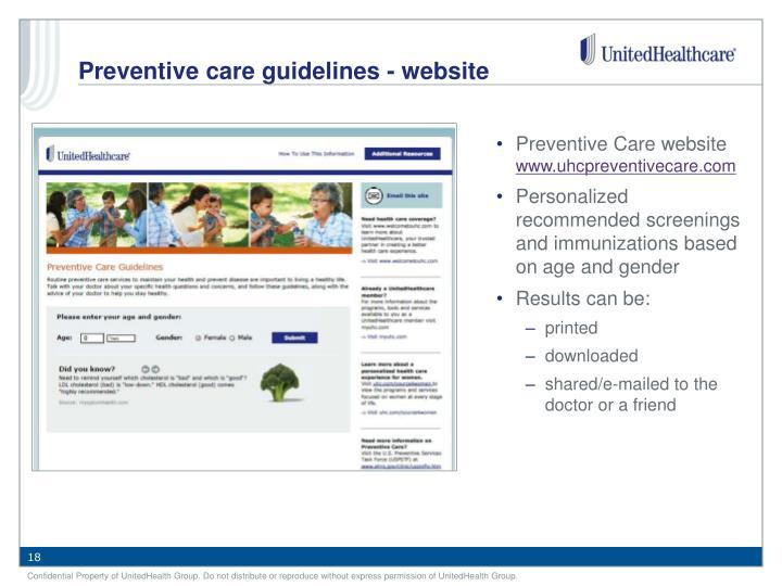 Preventive Care website
