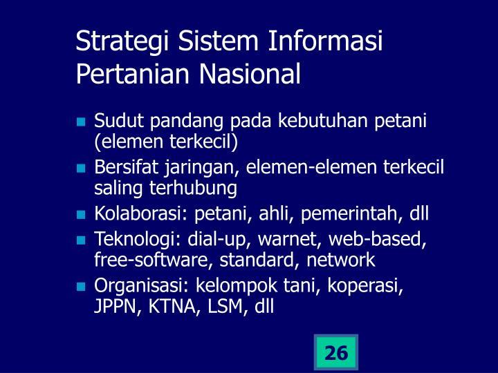 Strategi Sistem Informasi Pertanian Nasional