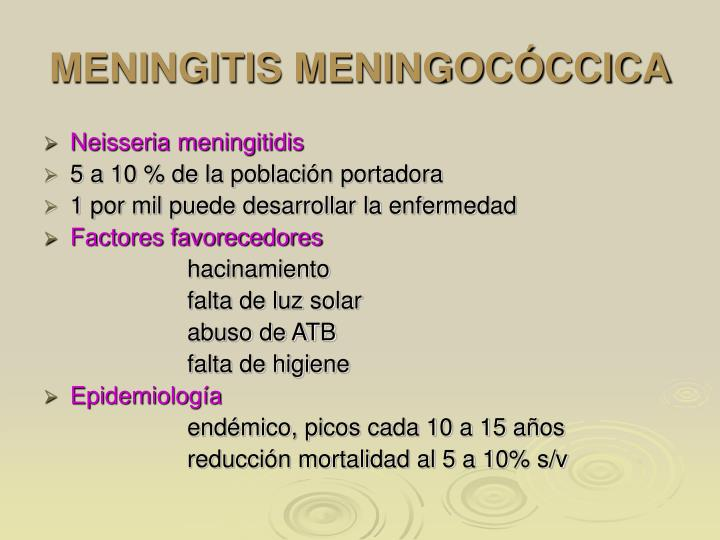 MENINGITIS MENINGOCÓCCICA