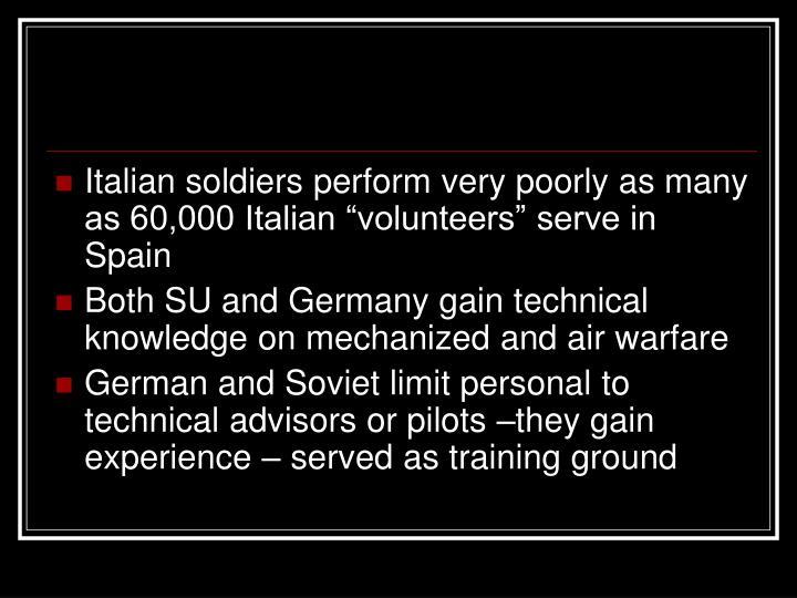 """Italian soldiers perform very poorly as many as 60,000 Italian """"volunteers"""" serve in Spain"""