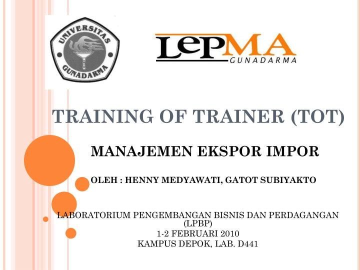 Training of trainer tot