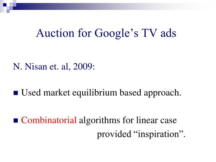 Auction for Google's TV ads