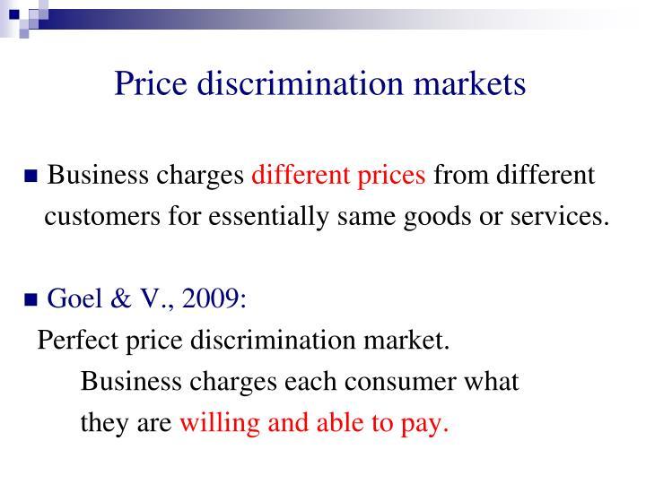Price discrimination markets