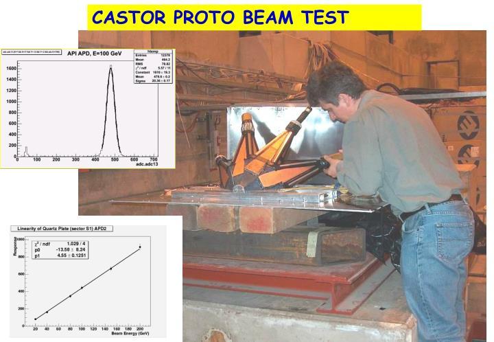 CASTOR PROTO BEAM TEST