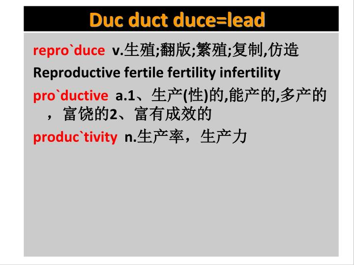 Duc duct duce=lead