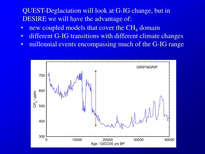 QUEST-Deglaciation will look at G-IG change, but in DESIRE we will have the advantage of: