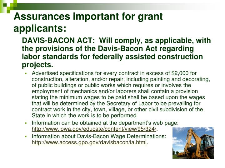 Assurances important for grant applicants: