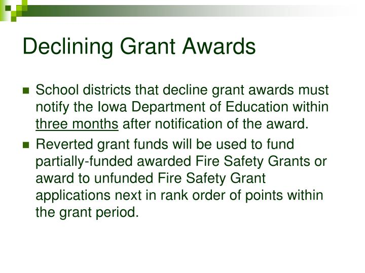 Declining Grant Awards