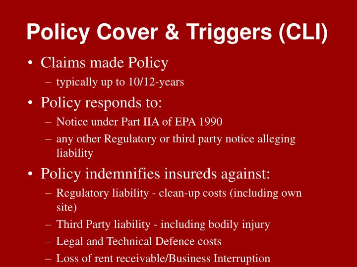 Policy Cover & Triggers (CLI)