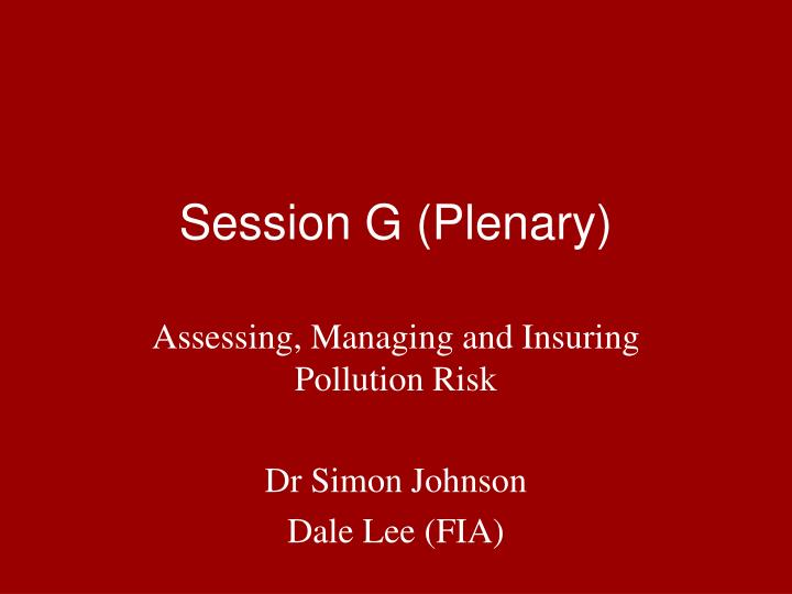 Session g plenary