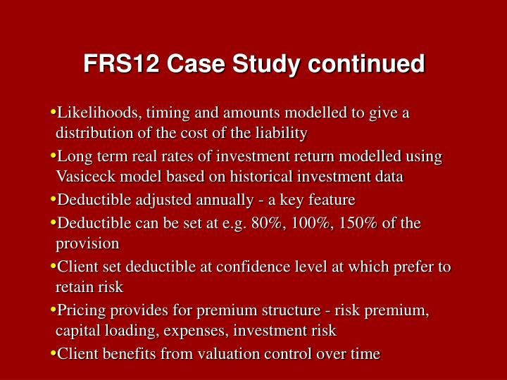 FRS12 Case Study continued