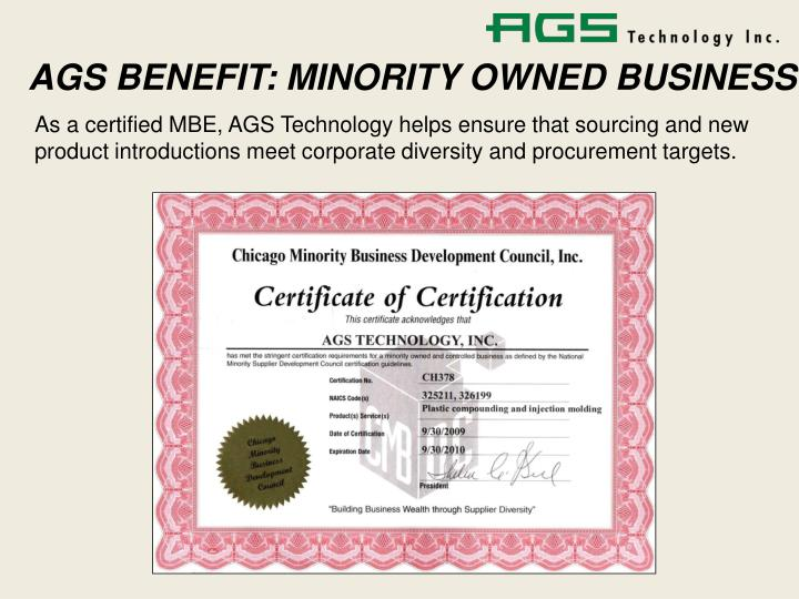 AGS BENEFIT: MINORITY OWNED BUSINESS