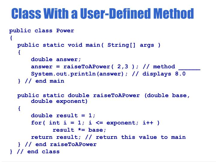 Class With a User-Defined Method