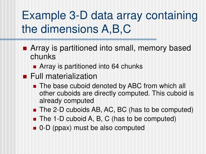 Example 3-D data array containing the dimensions A,B,C