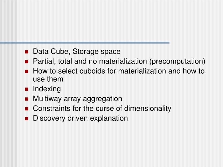 Data Cube, Storage space