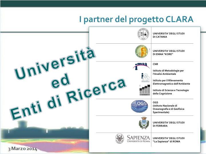 I partner del progetto CLARA