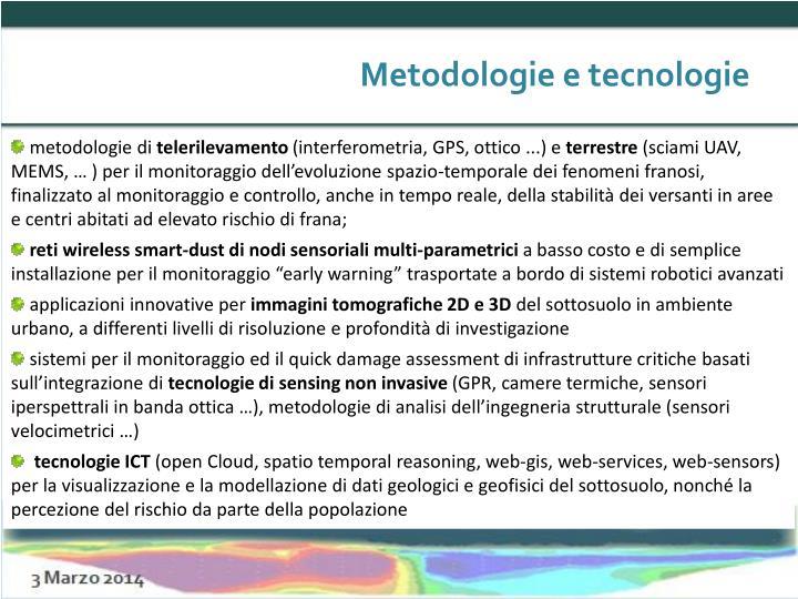 Metodologie e tecnologie