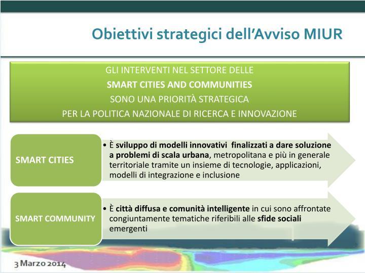 Obiettivi strategici dell'Avviso MIUR