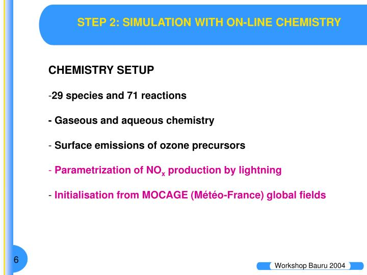 STEP 2: SIMULATION WITH ON-LINE CHEMISTRY