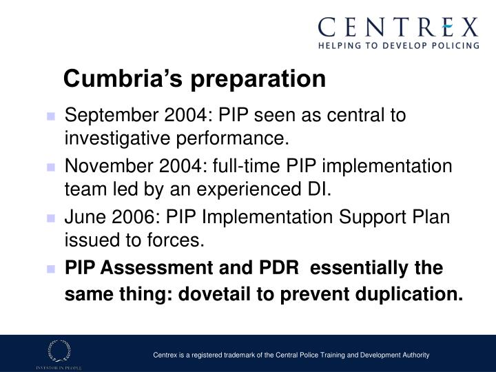 Cumbria's preparation