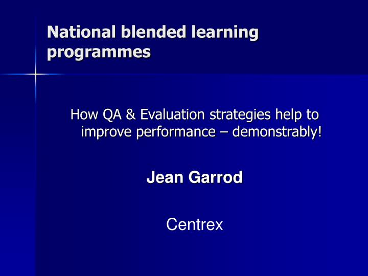 National blended learning programmes