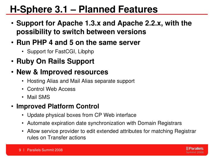 H-Sphere 3.1 – Planned Features