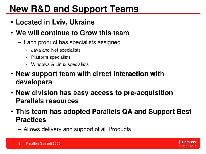 New R&D and Support Teams