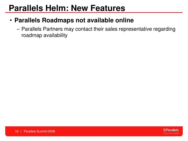 Parallels Helm: New Features