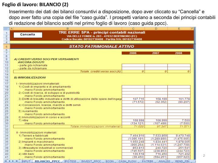 Foglio di lavoro: BILANCIO (2)